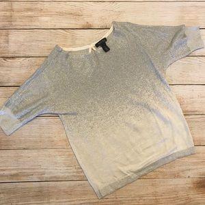 White House Black Market Silver White Sweater XS